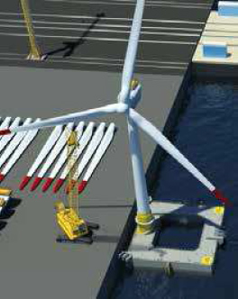 L'assemblage à quai de l'éolienne sur son flotteur avant remorquage